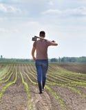 Agricoltore con la zappa nel campo di grano Immagini Stock Libere da Diritti