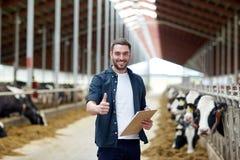 Agricoltore con le mucche che mostrano i pollici su sull'azienda lattiera Fotografia Stock