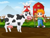 Agricoltore con una mucca davanti al suo granaio illustrazione vettoriale