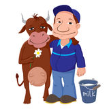 Agricoltore With Cow Fotografia Stock