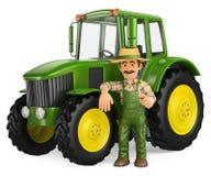 agricoltore 3D che si appoggia trattore con il pollice su illustrazione di stock