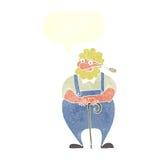 agricoltore del fumetto che si appoggia bastone da passeggio con il fumetto Fotografie Stock Libere da Diritti