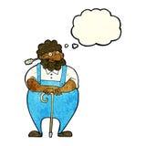 agricoltore del fumetto che si appoggia bastone da passeggio con la bolla di pensiero Immagini Stock Libere da Diritti