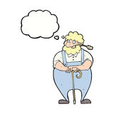agricoltore del fumetto che si appoggia bastone da passeggio con la bolla di pensiero Fotografia Stock
