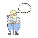 agricoltore del fumetto che si appoggia bastone da passeggio con la bolla di pensiero Fotografie Stock