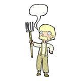 agricoltore del fumetto con la forca con il fumetto Fotografia Stock