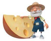 agricoltore dell'illustrazione 3d con un grande pezzo di formaggio Fotografie Stock Libere da Diritti