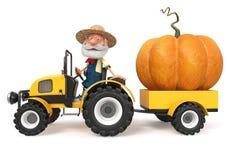 agricoltore dell'illustrazione 3d con una grande zucca immagini stock libere da diritti