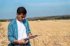 Agricoltore dell'uomo con la compressa a disposizione, i jeans e la camicia nel campo, raccolto, fienagione fotografia stock