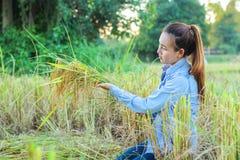 Agricoltore delle donne nel giacimento di grano maturo Immagine Stock Libera da Diritti