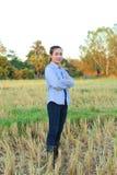 Agricoltore delle donne nel riso del campo Fotografia Stock