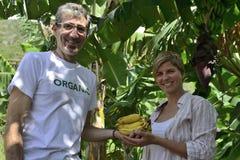 Agricoltore e cliente organici Fotografia Stock