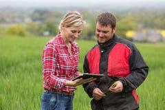 Agricoltore e tecnico che collaborano con l'elettronica Immagini Stock Libere da Diritti
