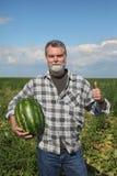 Agricoltore ed anguria Immagine Stock