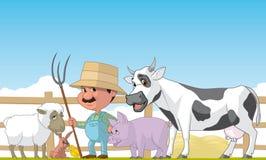 Agricoltore ed animali Fotografia Stock Libera da Diritti