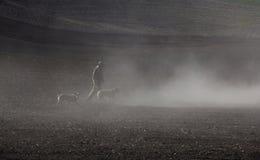 Agricoltore ed i suoi cani a Washington Fotografia Stock Libera da Diritti