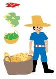 Agricoltore ed i suoi raccolti Fotografia Stock