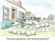 Agricoltore ed il suo gregge illustrazione vettoriale