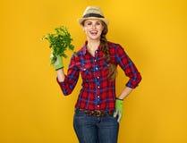 Agricoltore felice della giovane donna che mostra prezzemolo fresco Immagine Stock