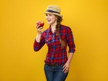 Agricoltore felice della giovane donna su fondo giallo con una mela Fotografia Stock