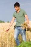 Agricoltore felice nel giacimento di grano Immagini Stock