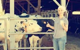 Agricoltore femminile allegro che sta con nel capannone della mucca Immagine Stock Libera da Diritti