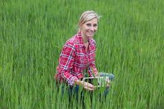 Agricoltore femminile che lavora con l'elettronica Fotografia Stock