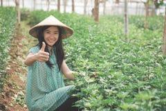Agricoltore femminile che mostra pollice su Immagini Stock Libere da Diritti