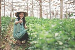 Agricoltore femminile che mostra pollice su Immagine Stock Libera da Diritti