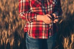 Agricoltore femminile che sta nel giacimento di grano e che per mezzo del telefono cellulare Fotografia Stock
