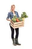 Agricoltore femminile che tiene una cassa con le verdure Immagini Stock
