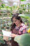 Agricoltore femminile con la compressa Fotografie Stock