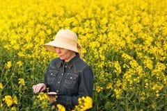 Agricoltore femminile con la compressa di Digital in seme di ravizzone del seme oleifero coltivato Fotografia Stock Libera da Diritti