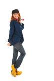 Agricoltore femminile con le scarpe di legno Fotografia Stock
