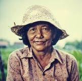 Agricoltore femminile locale cambogiano Portrait Concept Fotografie Stock