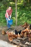 Agricoltore femminile sull'azienda avicola Immagini Stock
