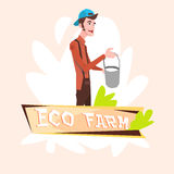 Agricoltore Hold Milk Pail Eco Farming Logo Concept del lattaio Illustrazione di Stock