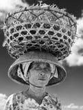Agricoltore indonesiano di signora che porta le alghe raccolte lei capa dal mare alla sua casa per l'essiccamento, Nusa Penida, I Fotografia Stock