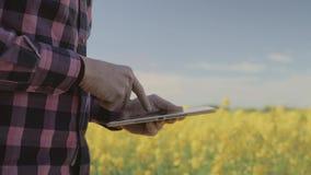 Agricoltore maschio moderno con il computer della compressa in un campo archivi video