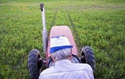Agricoltore maschio senior che si siede su un trattore Fotografie Stock Libere da Diritti