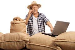 Agricoltore maturo che parla sul telefono e che lavora al computer portatile Fotografie Stock