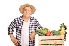 Agricoltore maturo che posa da una cassa con le verdure Immagine Stock Libera da Diritti