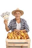 Agricoltore maturo con le pere cassa ed i pacchi dei soldi Fotografia Stock Libera da Diritti