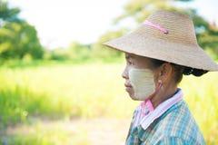 Agricoltore maturo tradizionale della femmina del Myanmar Immagini Stock