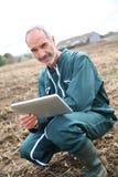 Agricoltore moderno che utilizza compressa nel mezzo del campo Fotografia Stock Libera da Diritti