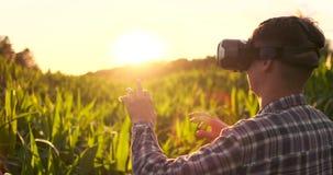 Agricoltore moderno nella condizione del raccolto del cereale di comandi del casco di VR nel campo al tramonto al sole archivi video
