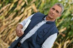 Agricoltore nel suo campo Immagini Stock Libere da Diritti