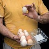 Agricoltore nell'iarda del pollame Immagini Stock Libere da Diritti