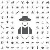 Agricoltore nell'icona del cappello illustrazione di stock
