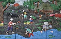 Agricoltore nella cultura tailandese tradizionale Immagine Stock Libera da Diritti